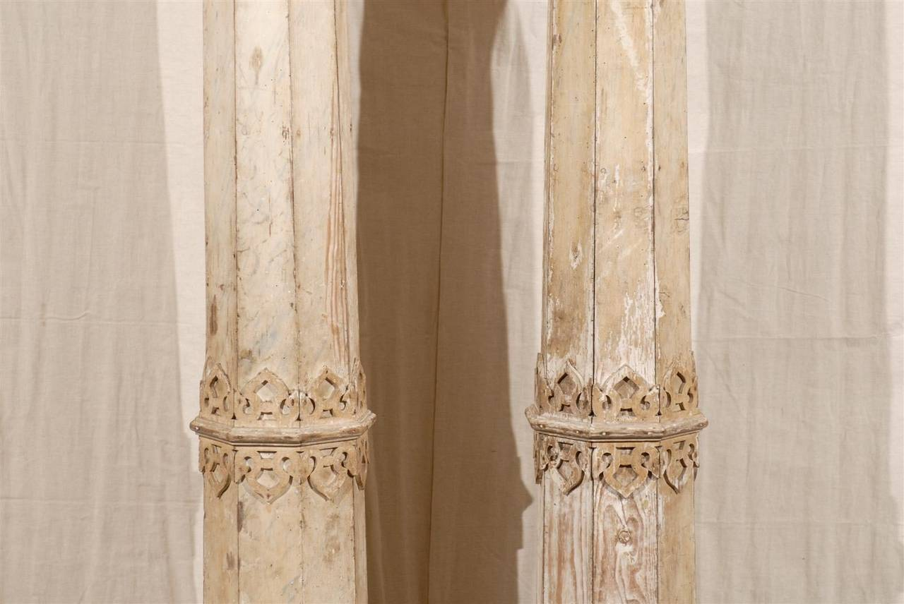A Pair of 19th Century European Slender Wooden Columns with Delicate Decor In Good Condition In Atlanta, GA