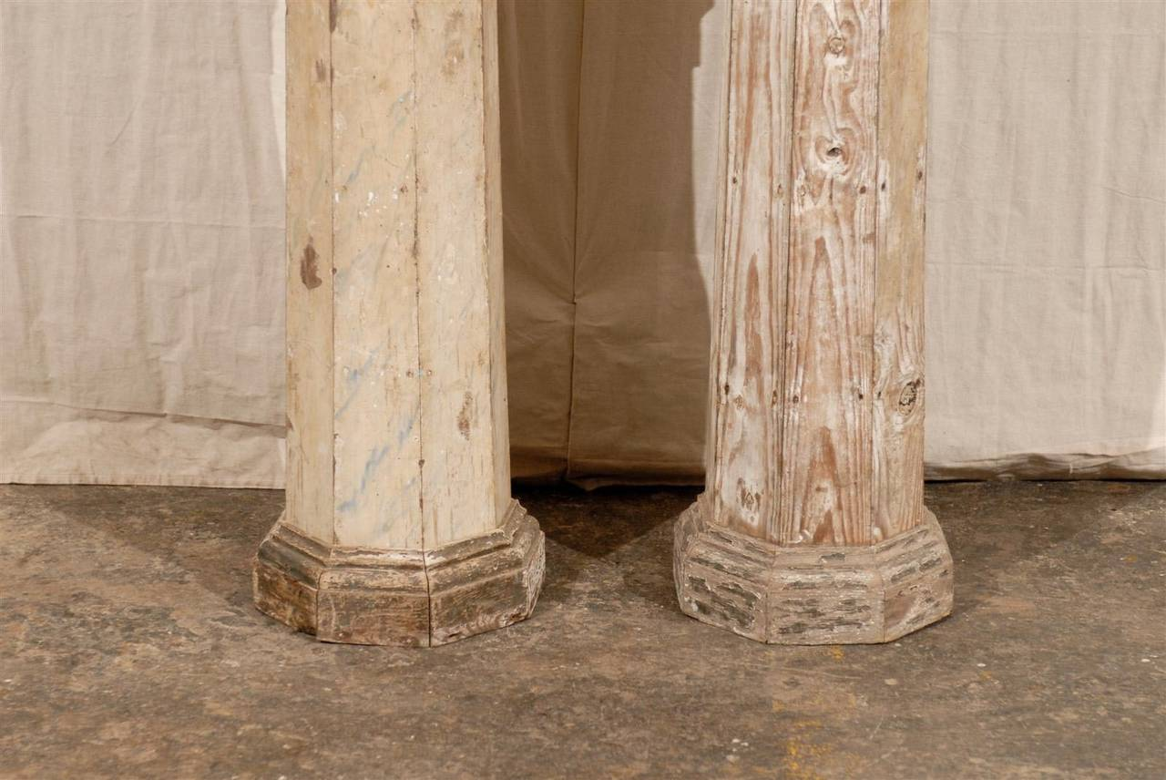 A Pair of 19th Century European Slender Wooden Columns with Delicate Decor 1
