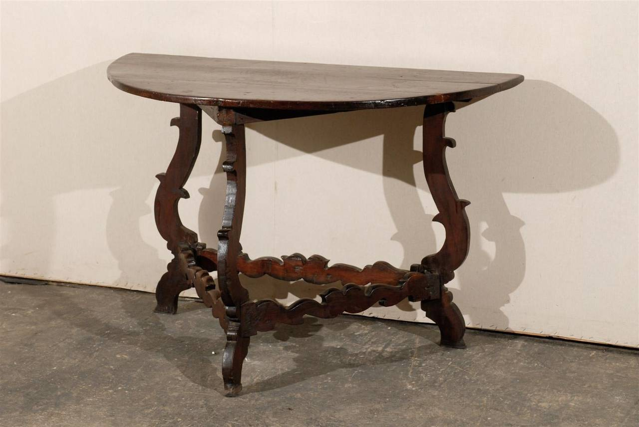 Exquisite Italian 18th Century Demilune Table In Good Condition For Sale In Atlanta, GA