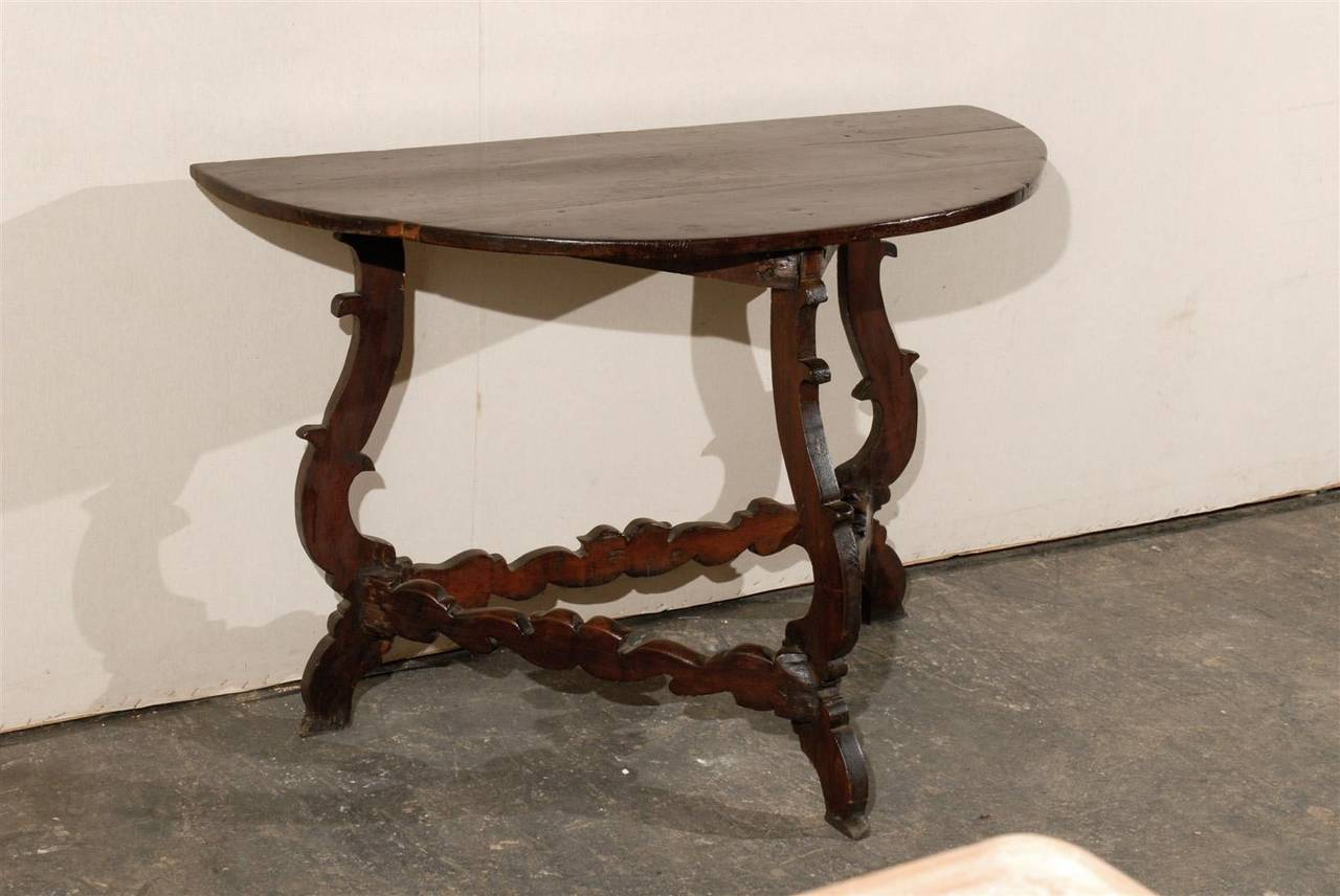 18th Century and Earlier Exquisite Italian 18th Century Demilune Table For Sale
