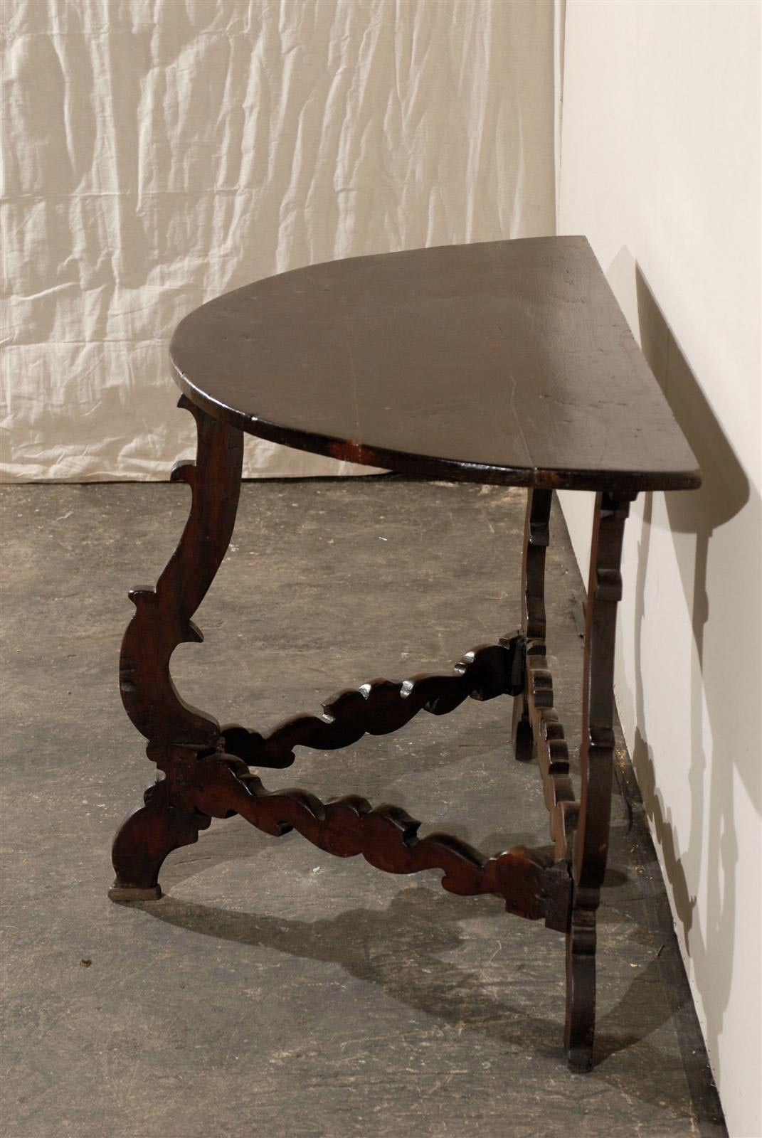 Wood Exquisite Italian 18th Century Demilune Table For Sale