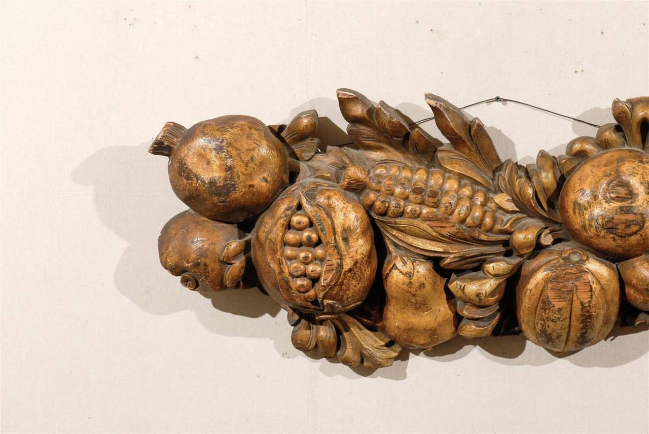Italian Late 19th Century Wooden Fruit Carved Swag In Good Condition For Sale In Atlanta, GA