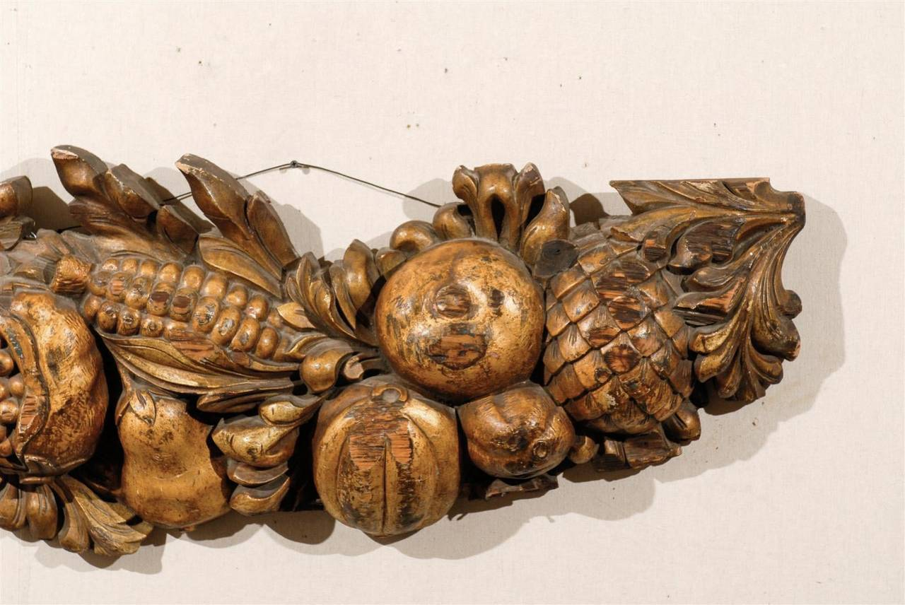 Italian Late 19th Century Wooden Fruit Carved Swag For Sale 2