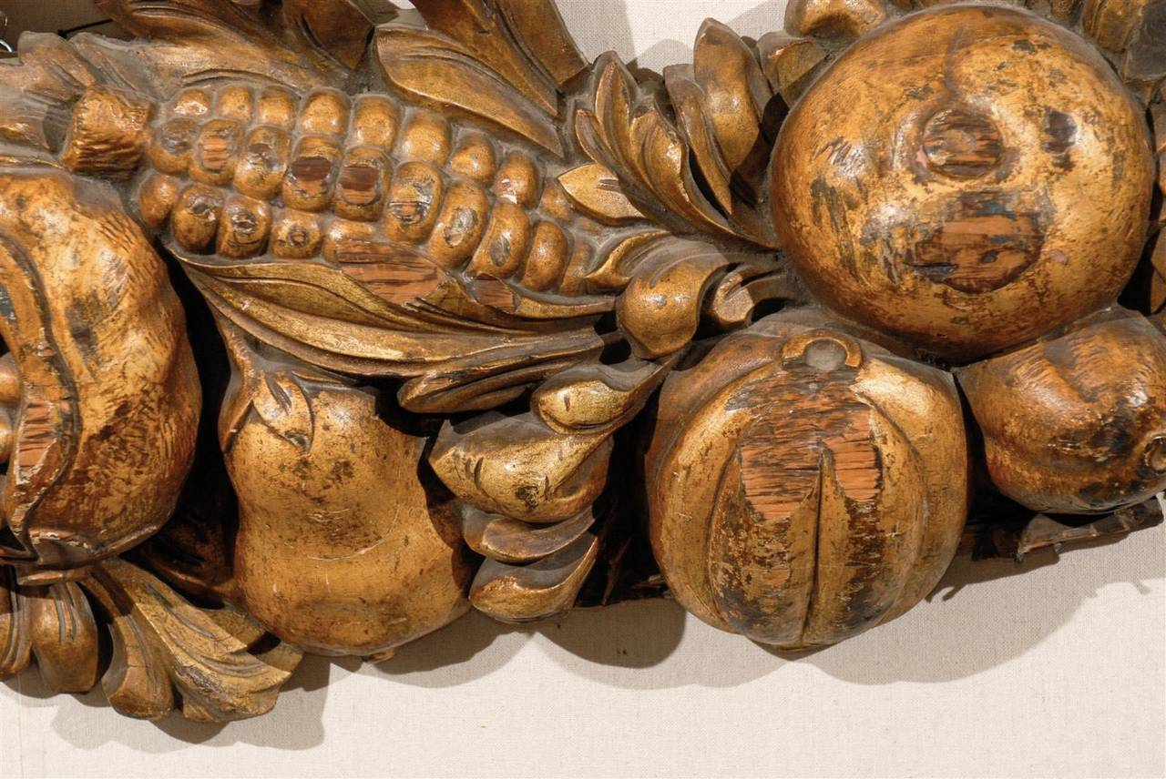 Italian Late 19th Century Wooden Fruit Carved Swag For Sale 6