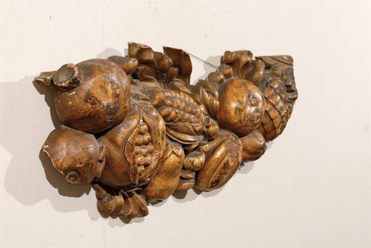Italian Late 19th Century Wooden Fruit Carved Swag For Sale 4