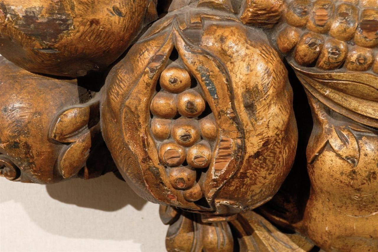 Italian Late 19th Century Wooden Fruit Carved Swag For Sale 3