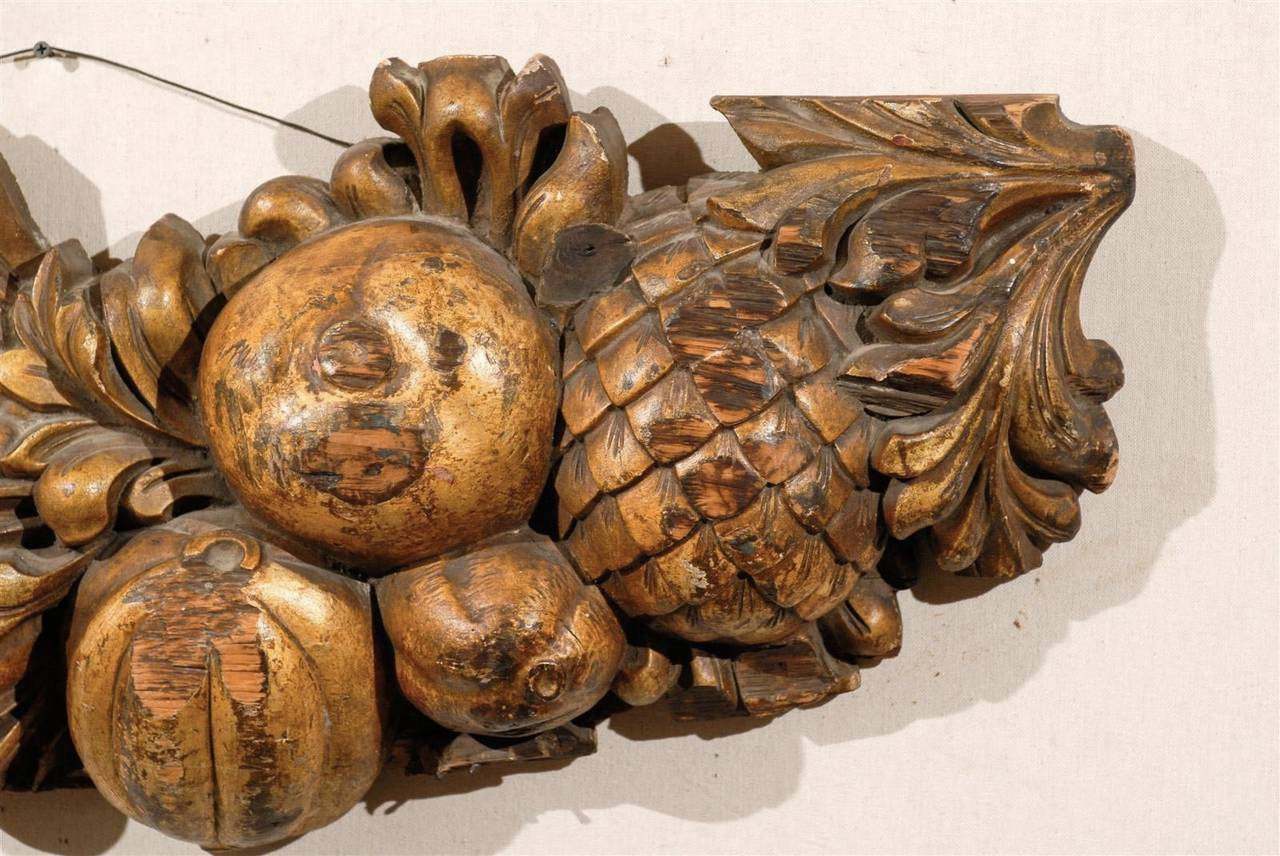 Italian Late 19th Century Wooden Fruit Carved Swag For Sale 1