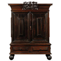 Swedish Late 17th Century Period Baroque Cabinet of Ebonized Rosewood