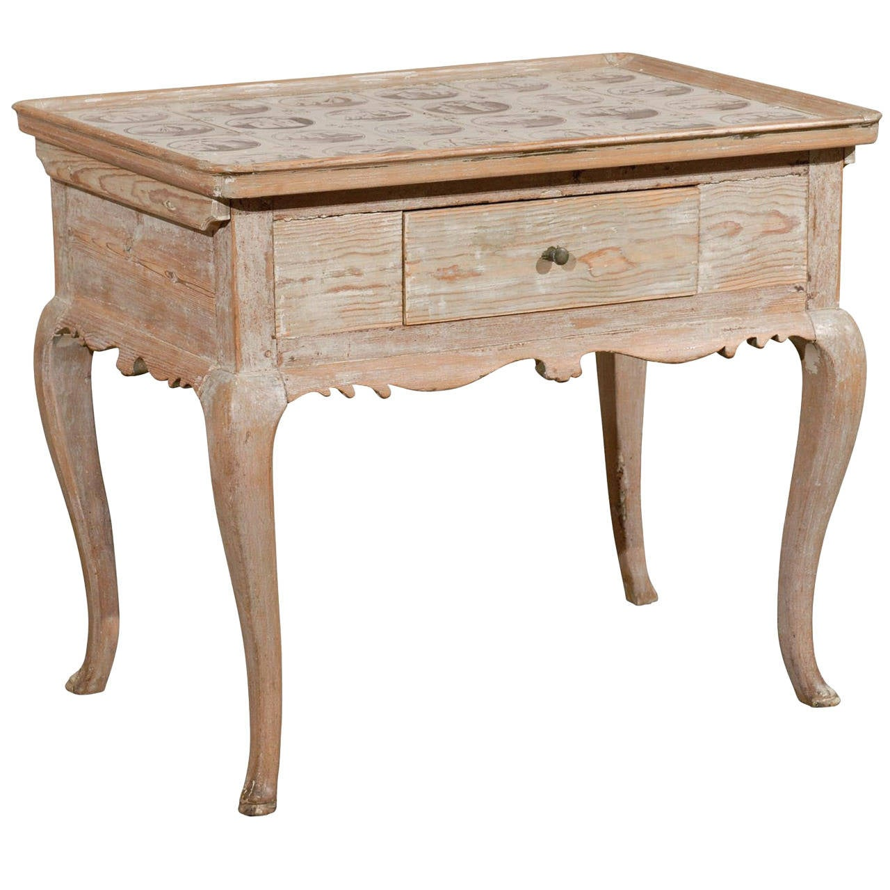 18th Century Swedish Wooden Tray Top Side Table with Dutch Tiles