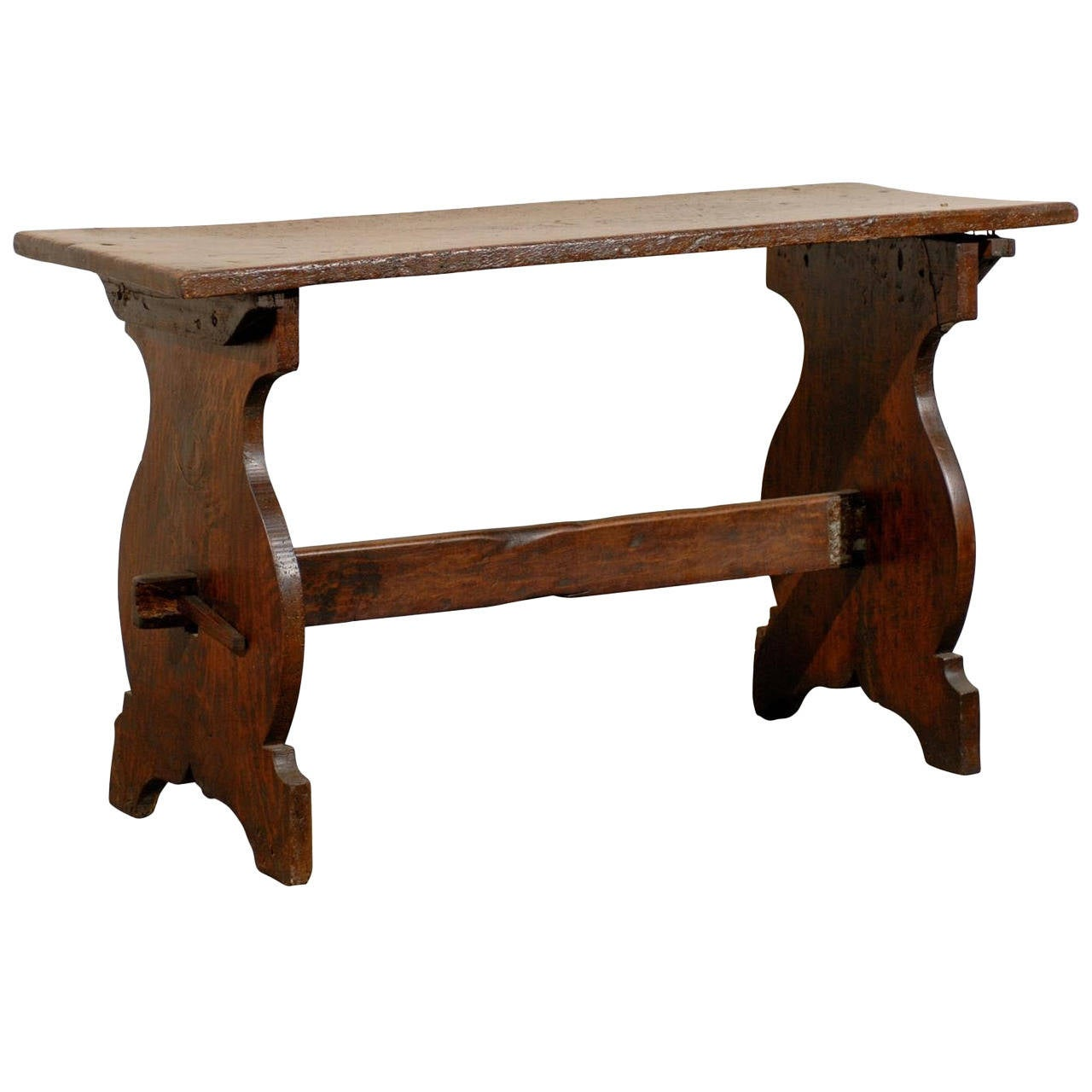 Italian 18th Century Wooden Console Trestle Table For Sale at 1stdibs