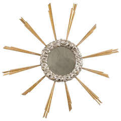 Italian Mid-19th Century Gilded Sunburst Mirror