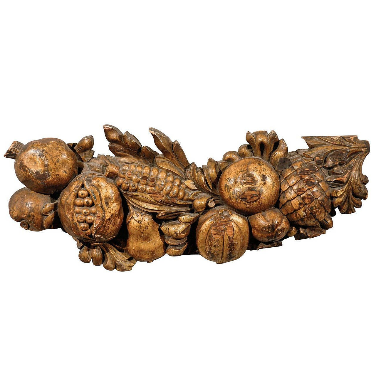 Italian Late 19th Century Wooden Fruit Carved Swag For Sale