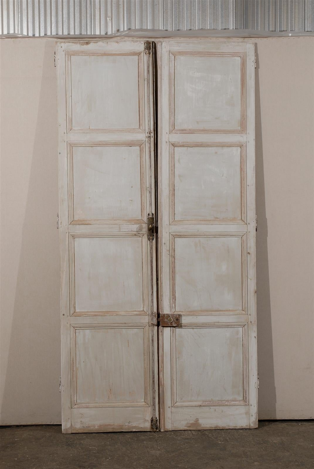Pair of 19th century french painted wood doors for sale at for Wooden french doors for sale