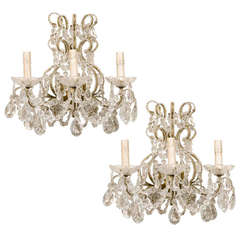Pair of Italian Three-Light Crystal Sconces with Ornate Crystal and Glass Detail