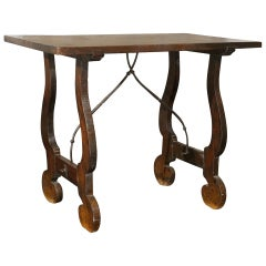 Italian Early 19th Century Stretchered Table with Lyre Legs