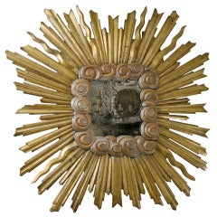 Exquisite Italian Early 19th C. Gilt Sunburst Mirror w/Clouds, 6 Ft. x 6 ft.