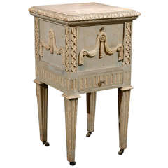 French Drop-Front Nightstand Table on Casters and Marble Top