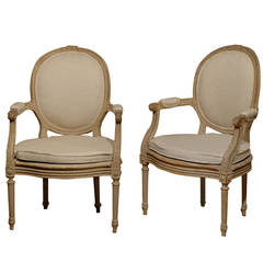 Exquisite Pair of French Oval Back Painted Wood Upholstered Bergeres Chairs