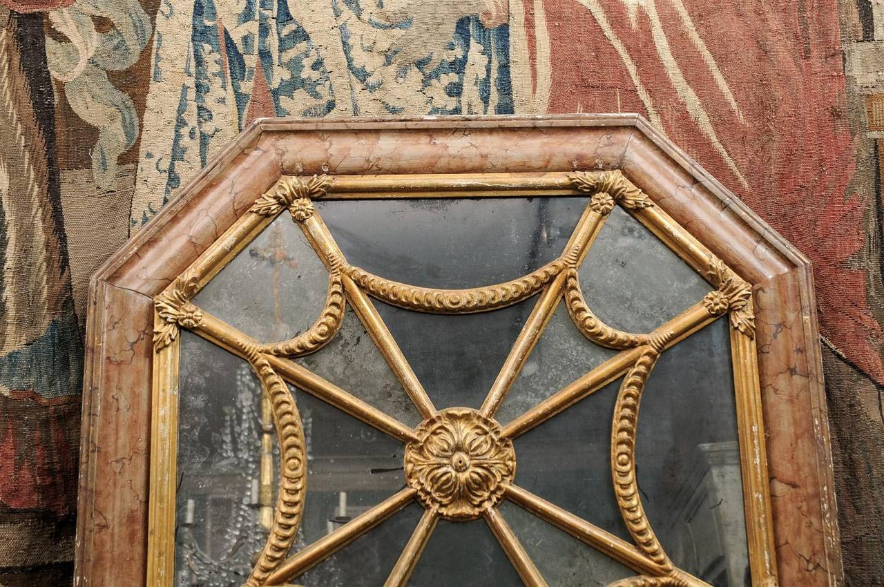 Glass Italian 19th Century Faux Marble Octagonal Mirror For Sale