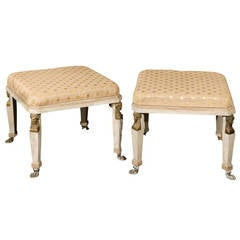 Pair of Neoclassical Style Upholstered Stools in Cream Color with Paw Feet
