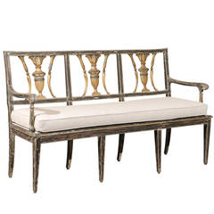 Early 19th Century Italian Painted and Gilded Wooden Bench