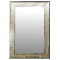 Large Scale Mirror with Eglomisé Greek Key Motif
