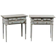 A Pair of Light Blue Three Drawer Side Tables