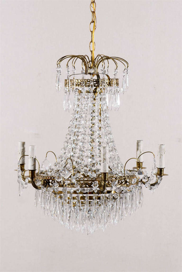 Swedish Crystal Six Light Chandelier with Brass Ring at