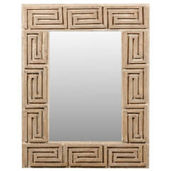 Greek Key Wooden Mirror with Antiqued Glass