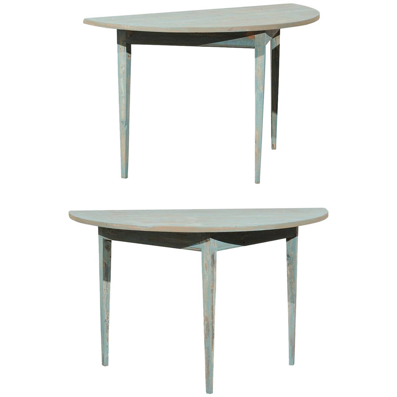 Pair of Swedish 19th Century Painted Wood Demilune Tables