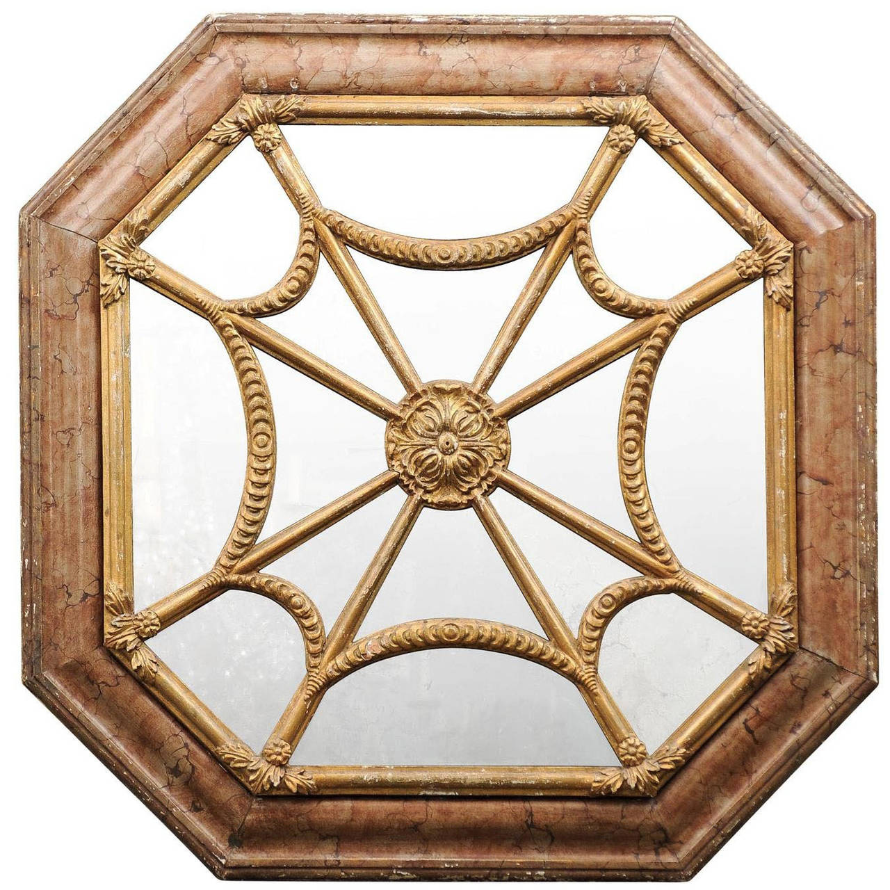 Italian 19th Century Faux Marble Octagonal Mirror For Sale