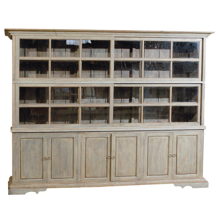 Large Painted Wood Sliding Glass Door China Cabinet Display Case with Storage at 1stdibs