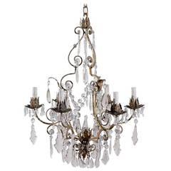 Italian Crystal, Six Light Chandelier