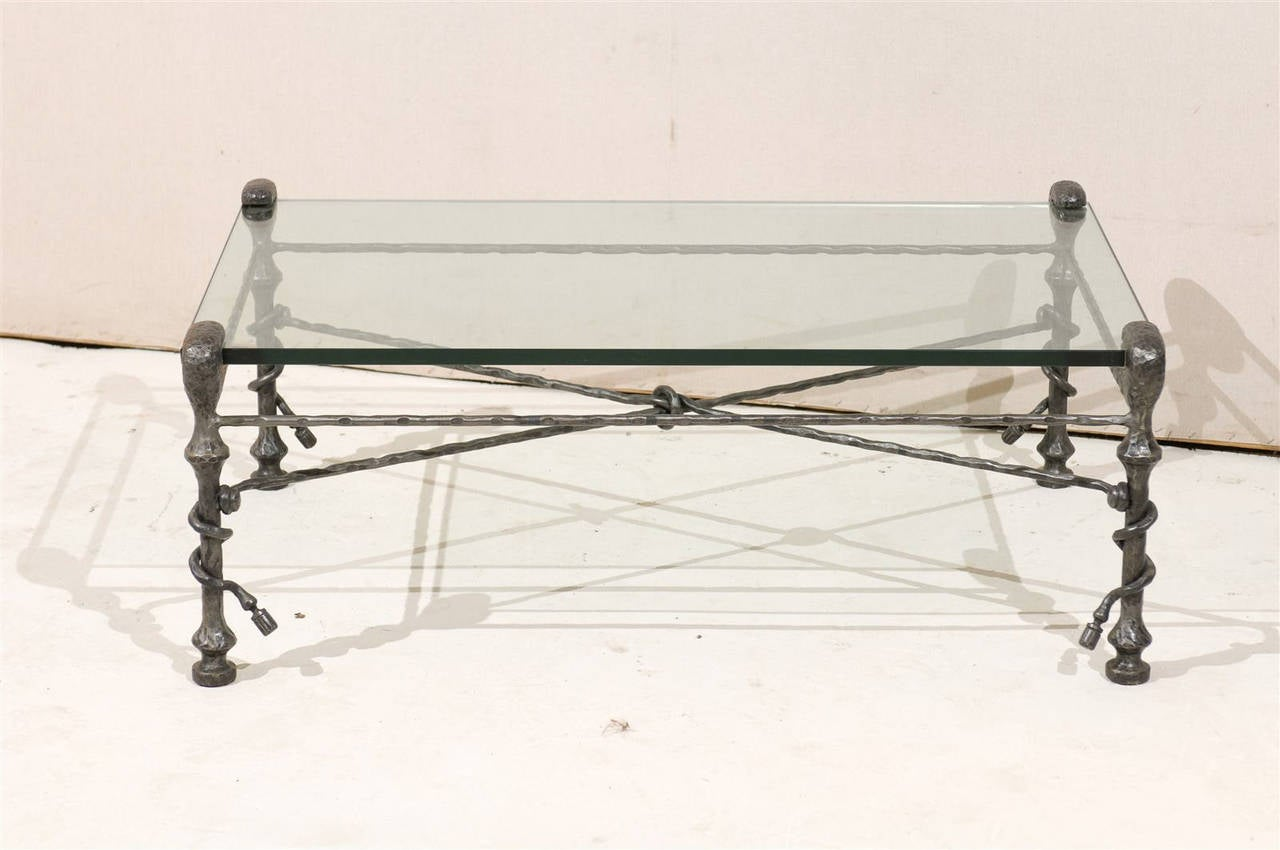 Giacometti inspired italian forged iron base and glass top for Forged iron table base