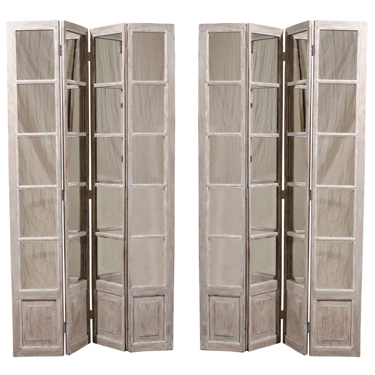 Pair of Mirrored Painted Wood Screens
