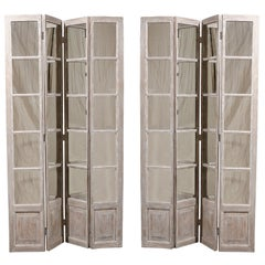 Pair of Mirrored Painted Wood Screens