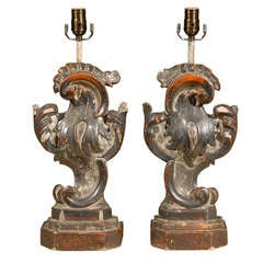 Pair of Italian Hand-Carved and Painted Rococo Style Table Lamps