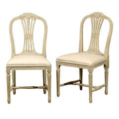 Set of Four Swedish Late Gustavian Style Wheat Back Side Chairs