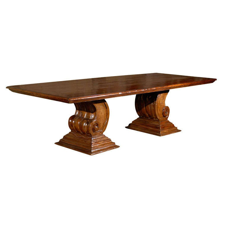 Hand-Carved Scroll Leg Base Dining or Conference Table Made of Peroba Wood