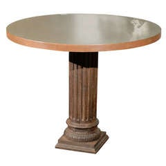 Center Table with Iron Column Pedestal and Steel Wrapped Wooden Top