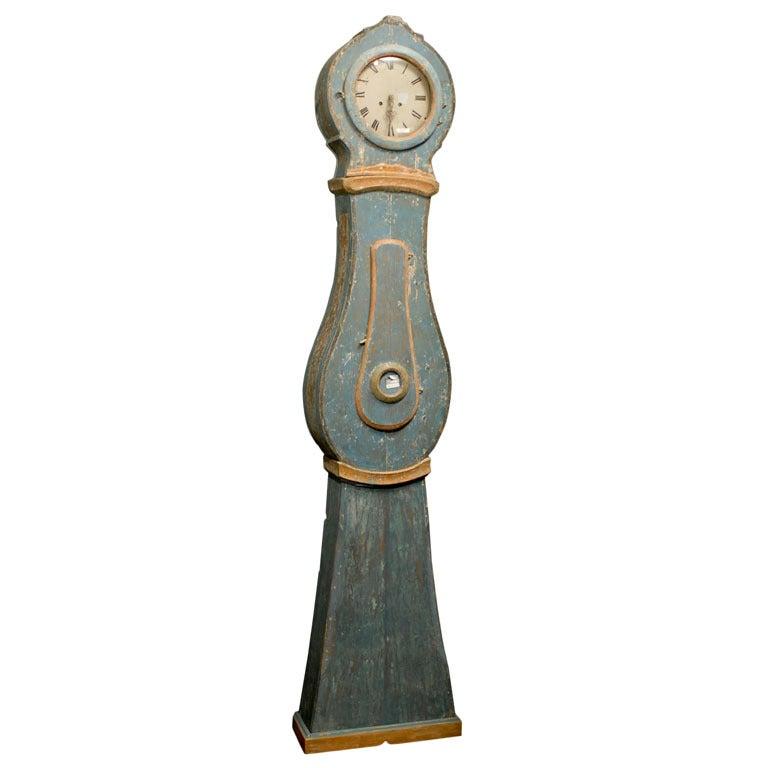 19th Century Painted Swedish Blue Painted Wood Clock