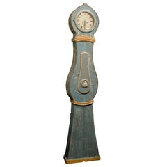 19th Century Painted Swedish Blue Painted Wood Clock