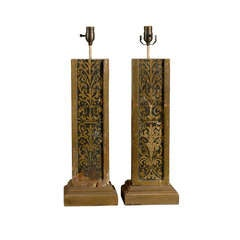 A Pair of Exquisite Italian Antique 19th C. Fragment Table Lamps, Gilded Accents