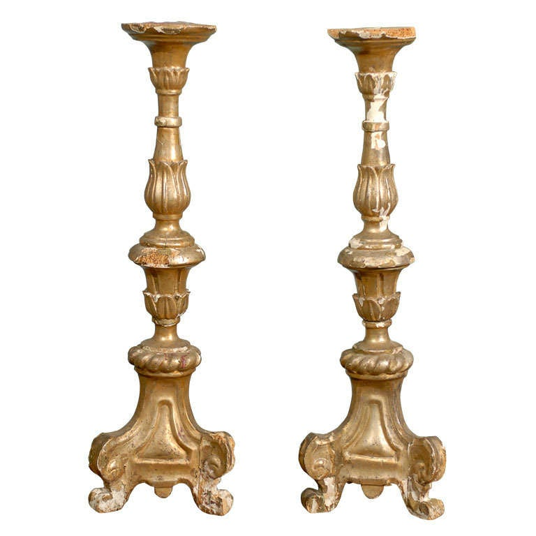 Pair of Italian 18th Century Giltwood Altarsticks For Sale