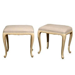 A Pair of French Vintage Louis XV Style Painted Stools with Gilt Accents
