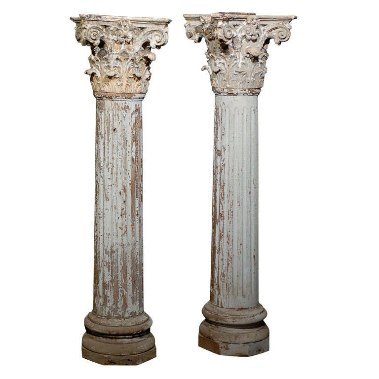 Pair Of 19th Century Corinthian Capital Decorative Columns 1