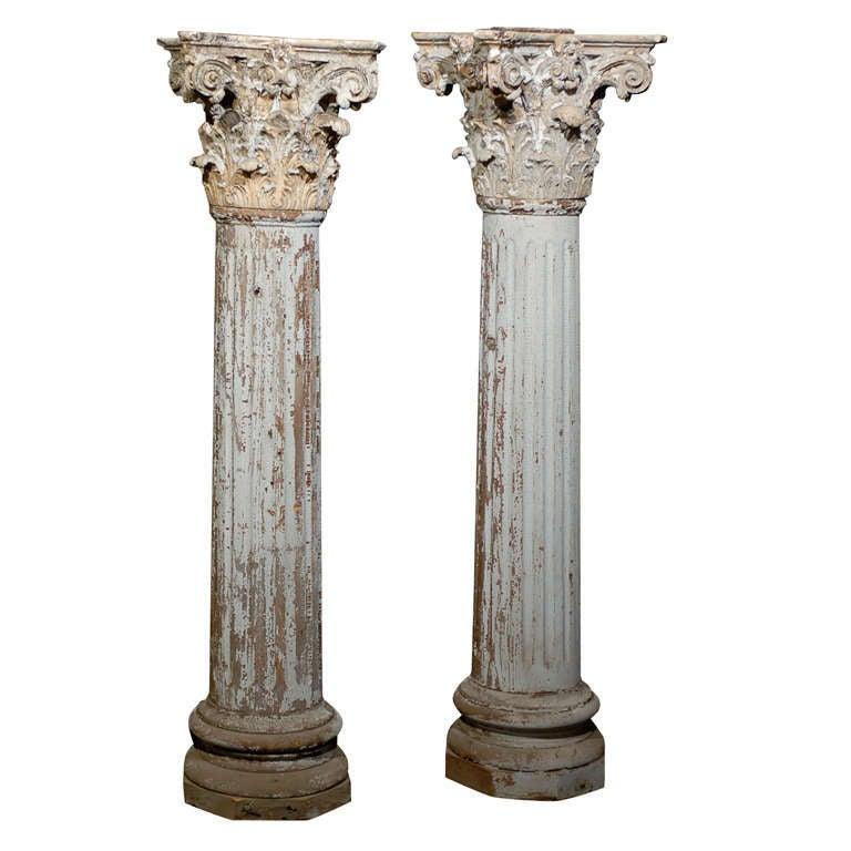 Pair of 19th century corinthian capital decorative columns for How to build decorative columns