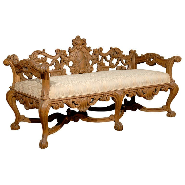 Late 19th Century Richly Carved Italian Wooden Bench With Upholstered Seat At 1stdibs