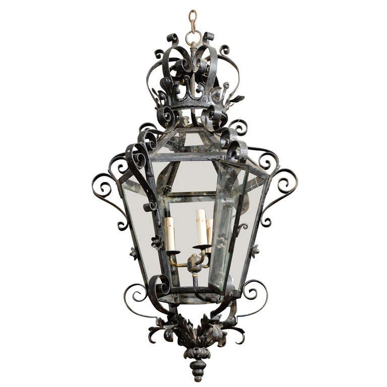French Vintage Wrought Iron Three-Light Lantern With Crown Motif and Scrolls For Sale
