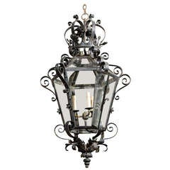 French Vintage Wrought Iron Three-Light Lantern With Crown Motif and Scrolls